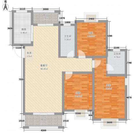 恒盛泰晤士印象3室1厅2卫1厨107.07㎡户型图