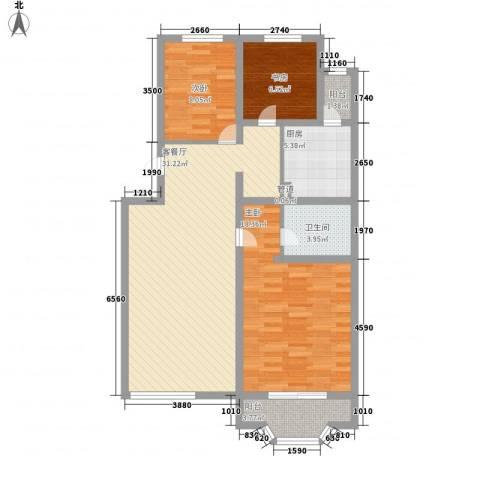 雅龙骑仕二期3室1厅1卫1厨114.00㎡户型图
