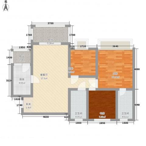 璐易豪庭3室1厅2卫1厨87.35㎡户型图