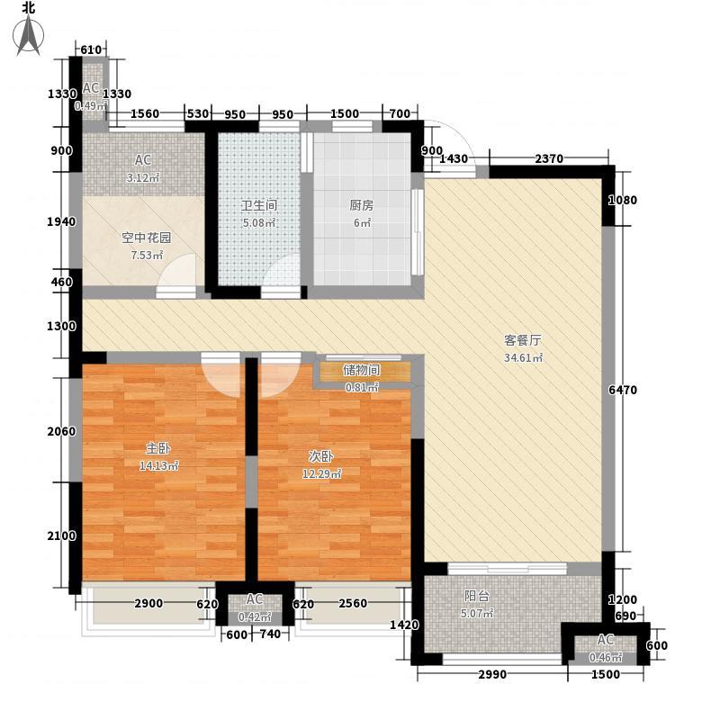 徽盐世纪广场111.00㎡一期D2户型2室2厅1卫1厨