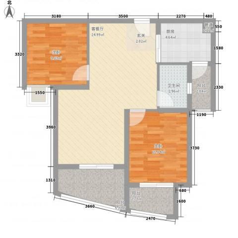 厦商大学康城2室1厅1卫1厨90.00㎡户型图