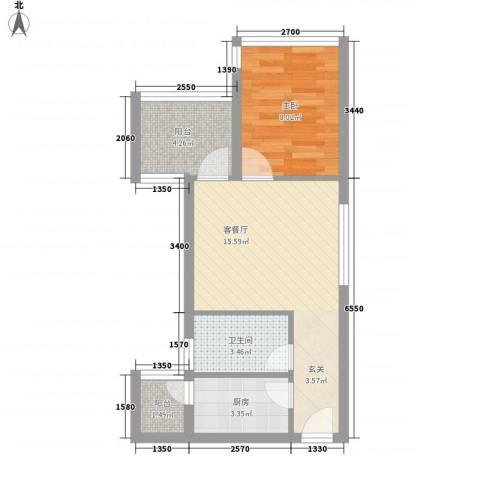 城果1室1厅1卫1厨49.00㎡户型图