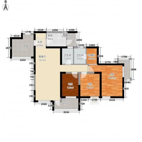 城市星钻3室1厅2卫1厨136.00㎡户型图