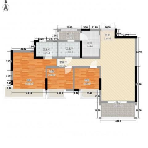 璐易豪庭3室1厅2卫1厨94.13㎡户型图