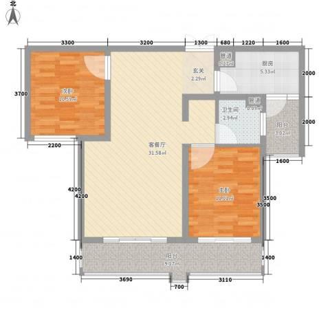 中太・阳光半岛2室1厅1卫1厨74.00㎡户型图