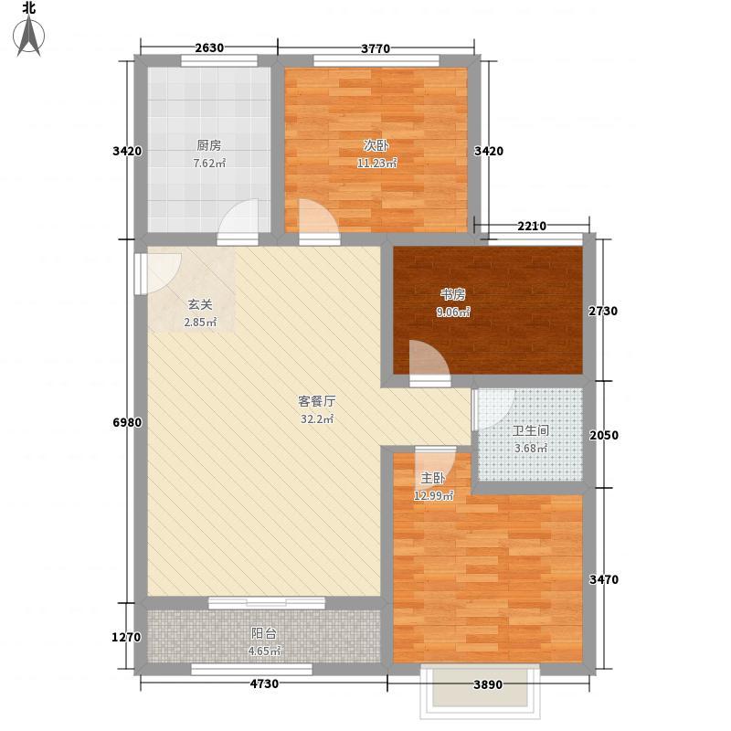 汶水花园116.00㎡高层D户型3室2厅1卫1厨