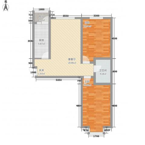 华茂名居2室1厅1卫1厨96.00㎡户型图
