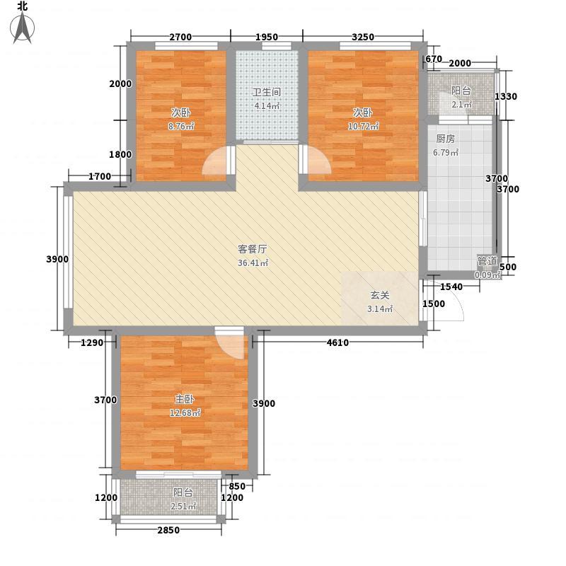 盛世桃城二区12.35㎡(已售罄)28#B户型3室2厅1卫1厨