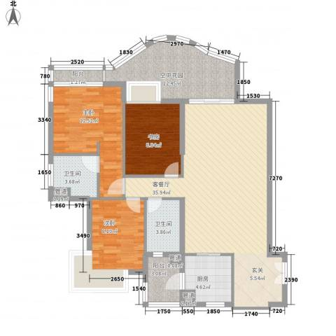 滨江明珠3室1厅2卫1厨135.00㎡户型图