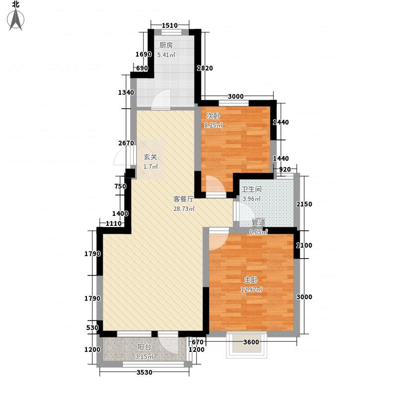 玺悦峰2.42㎡一期高层2#12#楼标准层A户型2室2厅1卫1厨