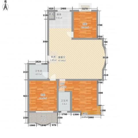 正大明泉花园3室1厅2卫0厨154.00㎡户型图