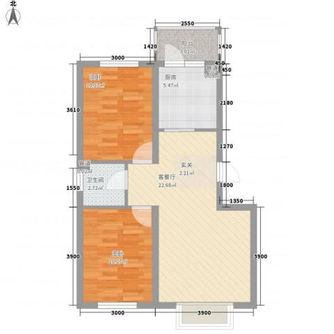 哈东上城2室1厅1卫1厨75.00㎡户型图