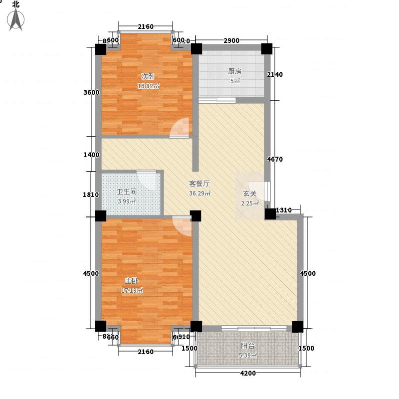 颐和城府2户型2室2厅1卫1厨