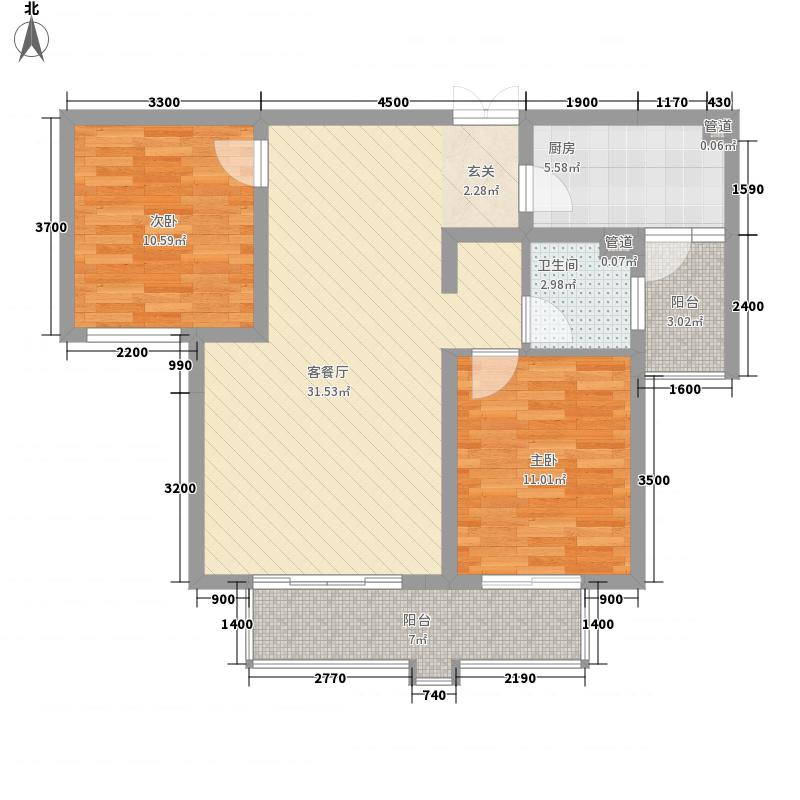 新桥・阳光半岛户型图B 2室2厅1卫