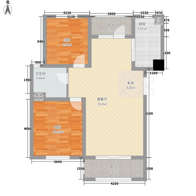 新桥・阳光半岛户型图C 2室2厅1卫