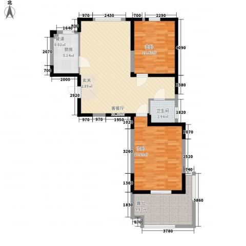 武夷水岸家园2室1厅1卫1厨90.00㎡户型图