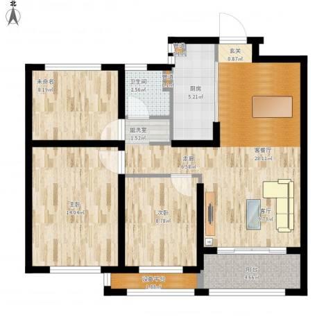首创・悦都2室1厅1卫1厨107.00㎡户型图