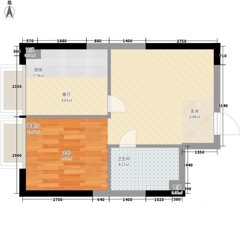 美利山49.05㎡C2号楼C4(b2)户型1室1厅1卫1厨