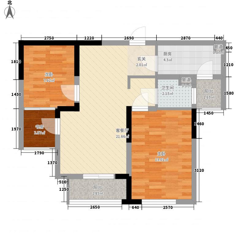 万立城83.00㎡-户型2室2厅1卫1厨