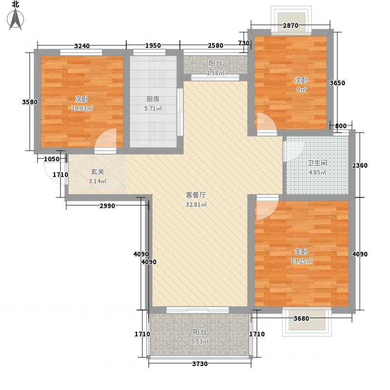 时代茗苑1#楼东西户、中间户2#中间户D3户型