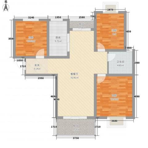 时代茗苑3室1厅1卫1厨119.00㎡户型图