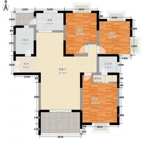 龙居山庄3室1厅2卫1厨162.00㎡户型图