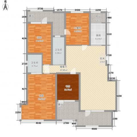 豪邦缇香公馆4室1厅2卫1厨171.00㎡户型图