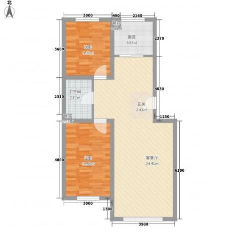 天安雅居2室1厅1卫1厨92.00㎡户型图