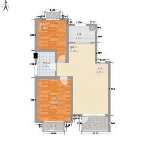 时代天骄2室1厅1卫1厨88.00㎡户型图