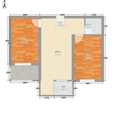 尚都花苑2室1厅1卫1厨74.00㎡户型图
