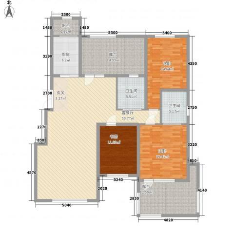 豪邦缇香公馆3室1厅2卫1厨141.00㎡户型图