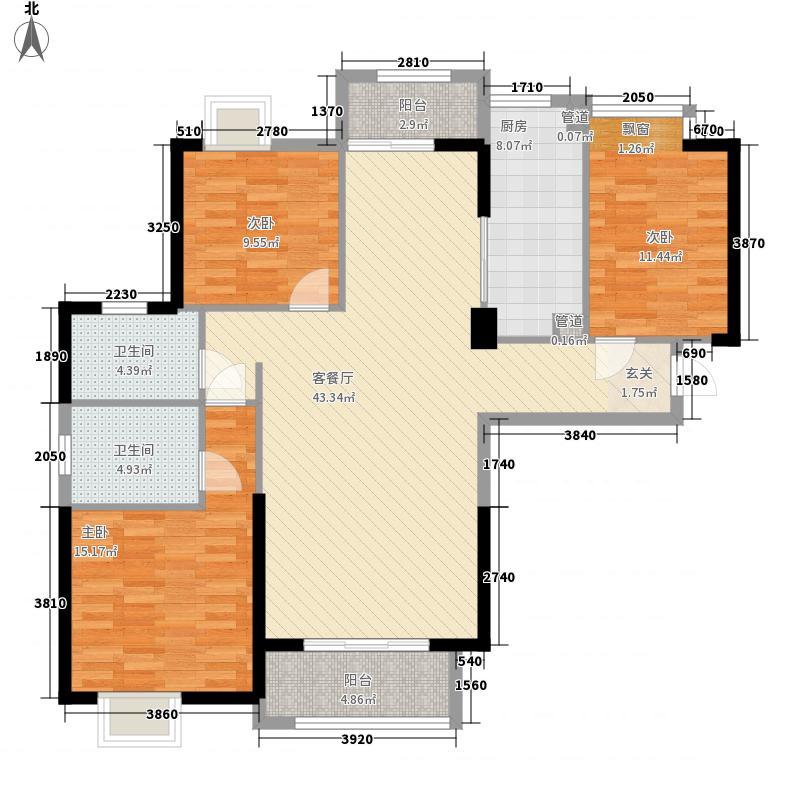 漳州碧湖万达广场136.30㎡B1#B1户型3室2厅2卫1厨