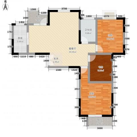 龙居山庄3室1厅1卫1厨123.00㎡户型图