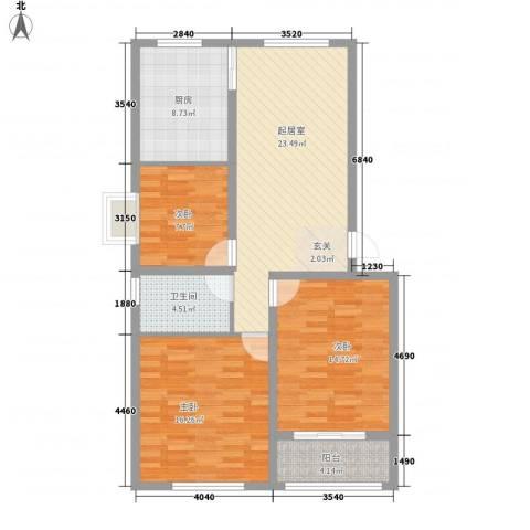 尚都花苑3室0厅1卫1厨113.00㎡户型图