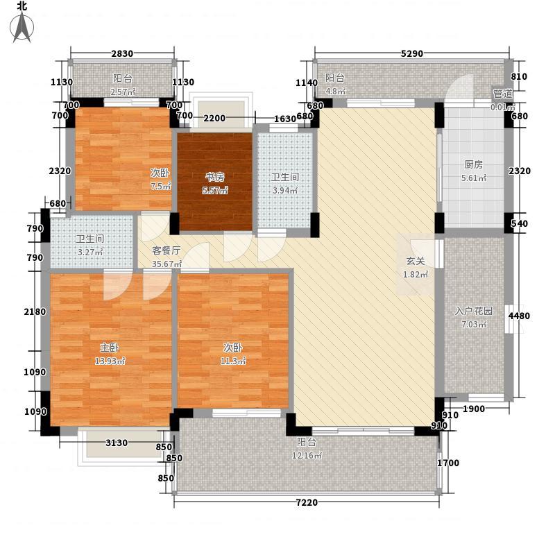 梦云南雨林澜山158.66㎡高层A户型3室2厅2卫1厨