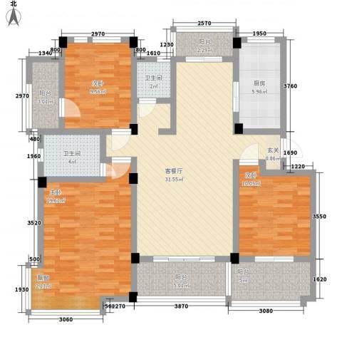 旭辉朗香郡3室1厅2卫1厨144.00㎡户型图