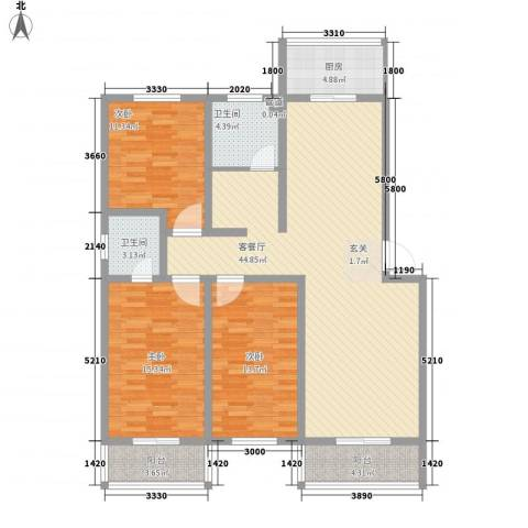 钰泰九龙苑3室1厅2卫1厨152.00㎡户型图