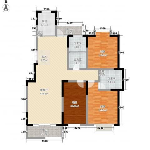 翠竹园3室1厅2卫1厨116.03㎡户型图