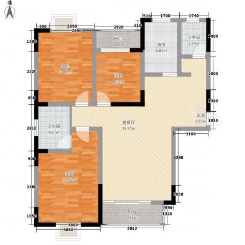 天露园一区3室1厅2卫1厨138.00㎡户型图