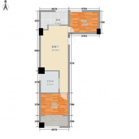 馥邦商务广场2室1厅1卫1厨79.00㎡户型图