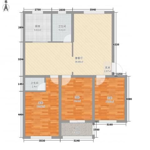 尚都花苑3室1厅2卫1厨135.00㎡户型图