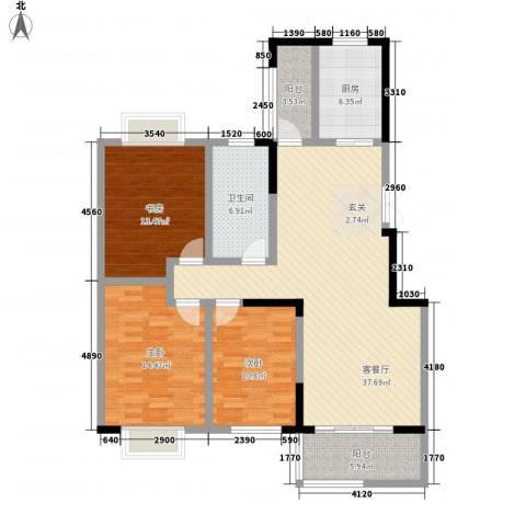 翠竹园3室1厅1卫1厨142.00㎡户型图