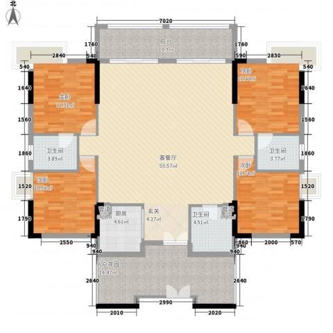 碧河四期水云天公馆4室1厅3卫1厨199.00㎡户型图