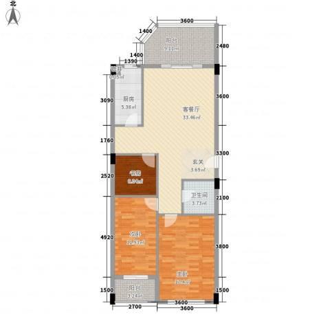 国际海景城3室1厅1卫1厨123.00㎡户型图