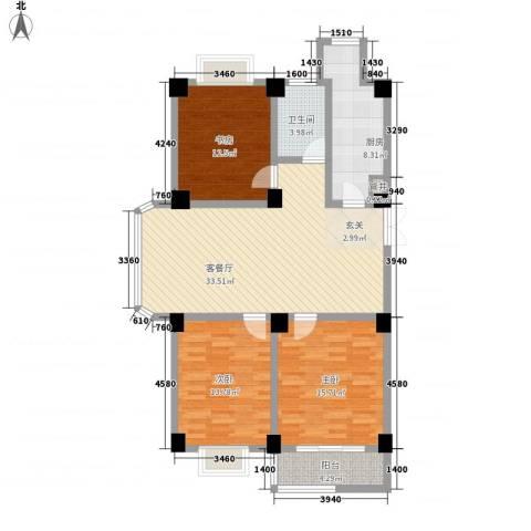 翠竹园3室1厅1卫1厨134.00㎡户型图