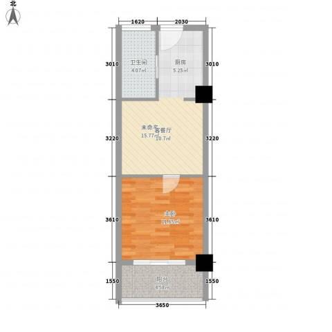馥邦商务广场1室0厅1卫0厨52.00㎡户型图