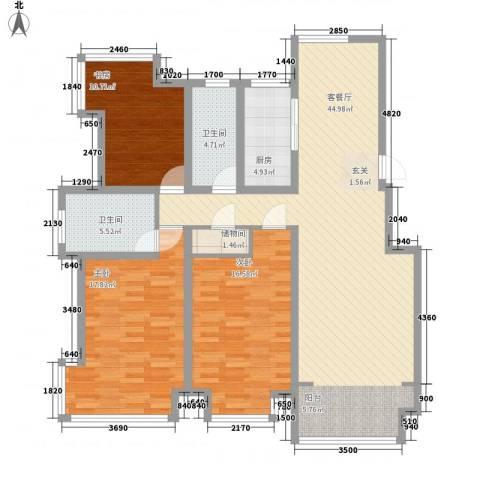 悦海世家3室1厅2卫1厨152.00㎡户型图