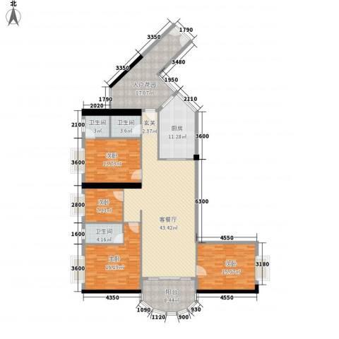 五邑锦绣豪庭4室1厅3卫1厨167.00㎡户型图
