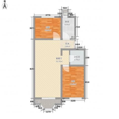 雅龙骑仕二期2室1厅1卫1厨97.00㎡户型图
