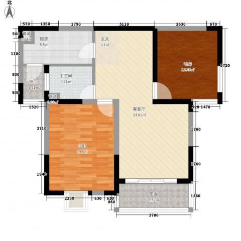 凤凰和熙苑2室1厅1卫1厨88.00㎡户型图